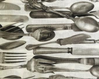 Robert Kaufman fabric, Kiss the Cook, silver, utensils, silverware, cotton fabric
