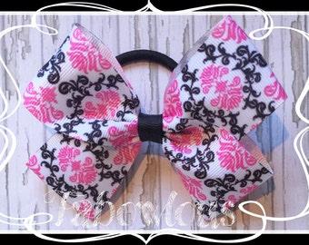 Large 4.5 inch Black & Pink Ribbon Basic Boutique Bow