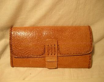 Vintage 1980's Handmade Beige Leather Handbag - Clutch Bag - NEW