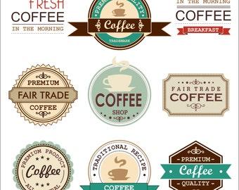 Vintage Retro COFFEE Clipart Vector Instant Download