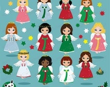 50% OFF SALE Christmas Angels Clipart , Angel Clipart, Christmas Clipart, Holidays Clipart