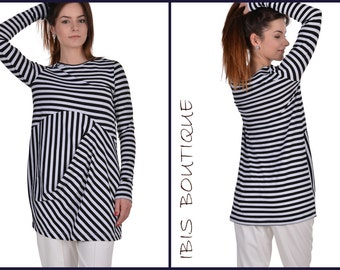 NEW Maxi Woman Tunic / Oversize Summer Tunic /Plus size top/ Black and white woman tunic/ modern woman top
