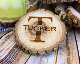 Monogramed Coaster Set, Wood Engraved Coaster Set, Rustic Wood Coaster, Personalized Coaster Set, Custom Coaster Set