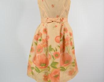 1960s Orange Daisy Dress