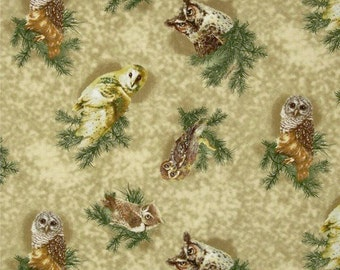 Owls of Wonder Cotton Fabric Giordano Studios Nature Print  By the Yard