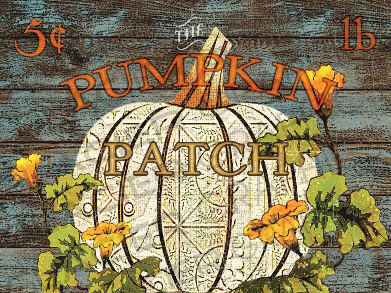 Ghost Pumpkin Patch Sign Primitive Pumpkin Folk Art Painting