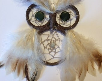 Handmade Owl Dreamcatcher, Owl Dreamcatcher, Feather and Genstone Dreamcatcher, Boho Dreamcatcher, Wall Decoration