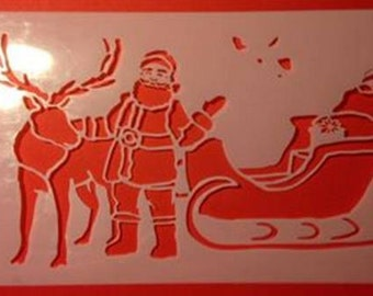 painting stencil Santa Claus and Rudolf Reindeer for Christmas decorations