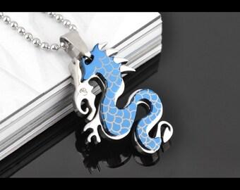 Pendant steel blue dragon