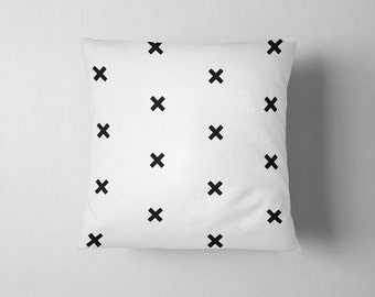 Black and white cross pattern throw pillow