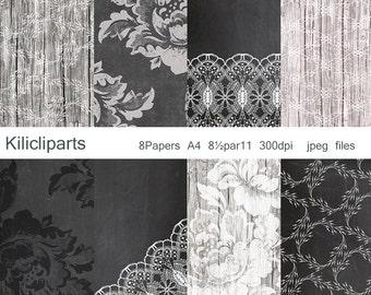 Chalkboard Papers, vintage paper, wood paper, Wedding papers, Vintage Flowers, flowers papers, instant download.