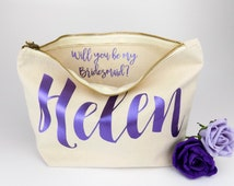 Personalised Bridesmaid Gift Make Up Bag - Will you be my Bridesmaid, Maid of Honour Gift. - Unique Gift for Bridal Party Bags,  Makeup Bags