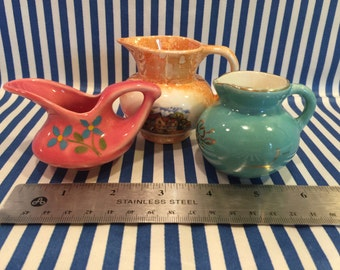 Vintage Trio of Three Adorable Petite Little Pitchers Including One Old Castle Lusterware Piece