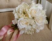 Ivory silk wedding bouque...