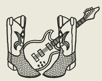Cowboy Boots And Guitar Embroidery Design