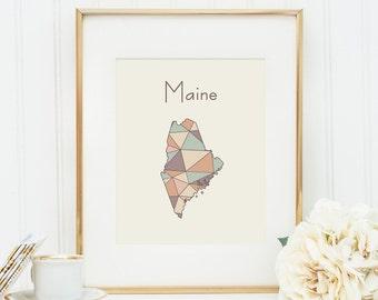 Maine art Maine map Maine print