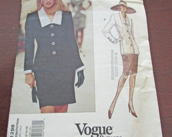 Vogue Givenchy Sewing Pattern 1298 Top & Skirt Fitted Lined Top Shoulder Pads Semi Fitted Straight Lined Skirt Uncut Pattern Size 12 14 16