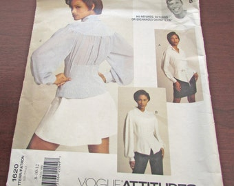 Vogue Attitudes  1620 Byron Lars Sewing Pattern Very Loose Fitting Blouse Collar Long Sleeve  Semi Fitted Uncut Size 8 10 12