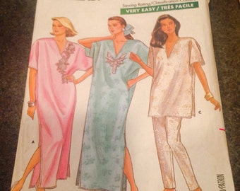 Butterick 5954  Sewing Pattern Caftan Top Pants Pj's Pajama Nightgown  Lingerie Size L XL Fast & Easy