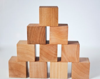 Wood Blocks / Wood Baby Blocks / Natural Wood Blocks / Wood Building Blocks / Wood Block Set of 10