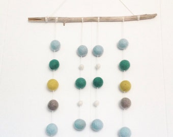 Driftwood Felt Ball Mobile Wall Hanging eco-friendly