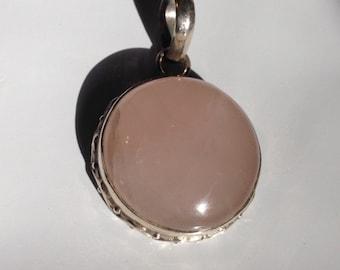 Sterling Silver-Rose Quartz Pendant