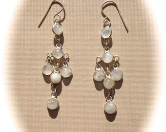 Chandelier Sterling Silver Moon Stone Earrings