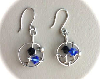 Sterling Silver Wired Crystals Earrings