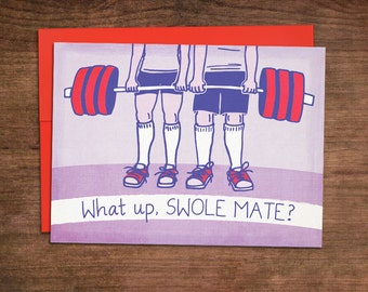 Swole Mate - Crossfit Valentines Day Card - Fitness Weightlifting Barbell - Funny Clever Love Anniversary Engagement Proposal