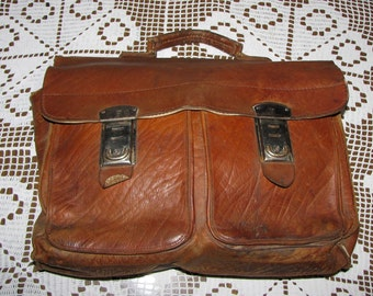 Leather BAG 1940's German VL men BRIEFCASE vintage
