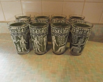 Vintage Hazel Atlas Egyptian Highball Glass Tumbler Set of 8