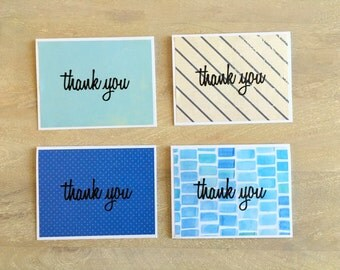 Cool Blue Thank You Card Set (4 cards)