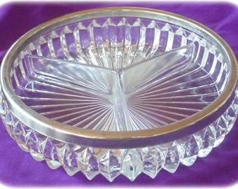 Glass Divided Serving Dish, Silver Rim, England, Vintage