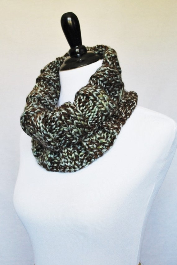 Brown, Blue, Cream Tweed Knit Cowl, Ribbed Neck Warmer, Short Infinity, Turtleneck Collar Scarf - Wide, Ribbed Knit