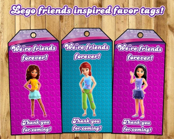 Lego Friends Inspired Favor Tags - Lego Friends Birthday Party Favor Tags Download Print Lego Friends Loot Bag Tags Lego Friends Favor Tags