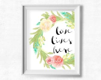 Shabby Nursery Wall Art, Love Lives Here Printable, Shabby Nursery, Maya Jane Art, 8x10 Instant Download