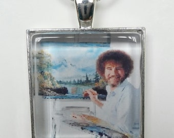 Bob Ross painting at his easel pendant necklace or keychain(you choose)