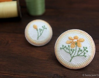 Embroidered fridge magnets - yellow flower magnets