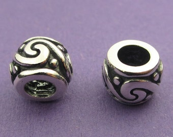 New 10mm 925 Sterling Silver European Style Rolling Wave Charm Spacer Bead 1pc