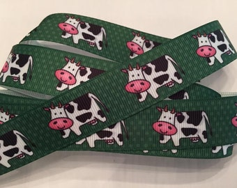 Cow Grosgrain Ribbon 7/8""