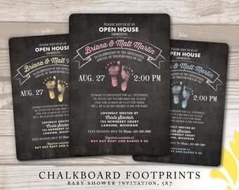 CHALKBOARD FOOTPRINTS . baby shower invitation