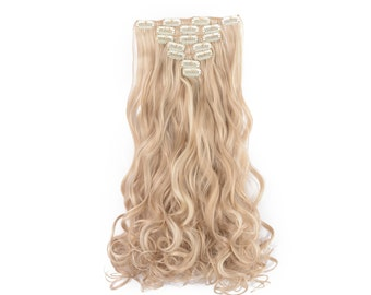 """20"""" Curly Clip in Hair Extensions - Full Head 7 pcs Synthetic Hair Pieces (16H613 Highlights)"""
