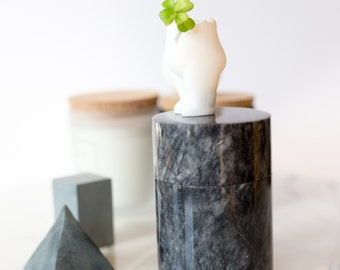 Gray Marble Cylindrical Box