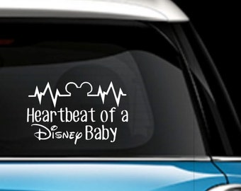 Heartbeat of a Disney Baby - Disney Baby Car Decal - Disney Car Decal