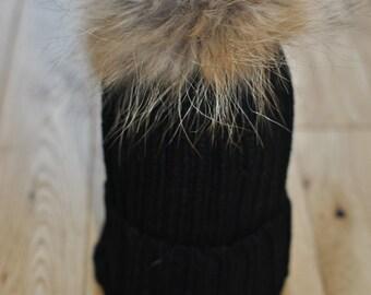 BLACK Cable Knit Bobble Hat Beanie Natural Raccoon Fur XL Pom Pom