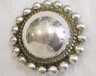 Vintage 925 Sterling Silver TC-54 LATON Mexico Reflective Sfera BROOCH Pin 17.5 grams 1.5""
