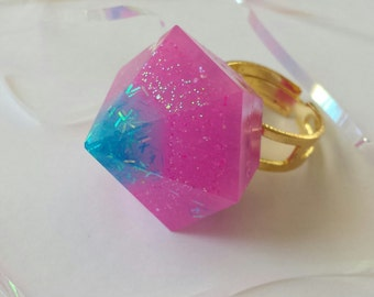 Cotton Candy Sunrise Resin Diamond Ring