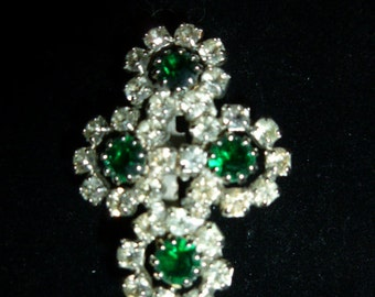 Beautiful Vintage Green and Clear Rhinestone Brooch Pronged Rhinestones