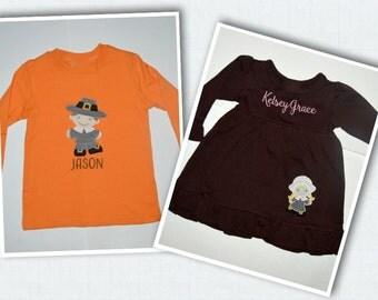 Pilgrim applique shirt / Thanksgiving Applique shirt or dress