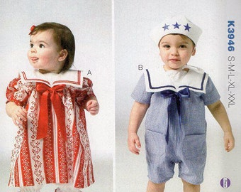 Free Us Ship Sewing Pattern Kwik Sew 3946 Baby Toddler Sailor Suit Dress Victorian Pantaloons Hat  New Out of Print